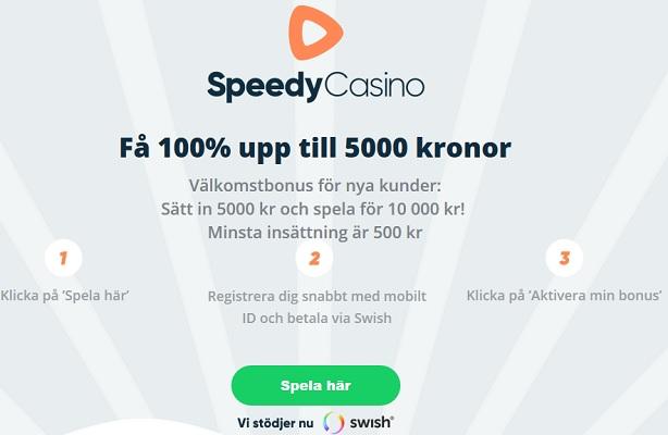 Spela Speedy Casino med välkomstbonus nu!