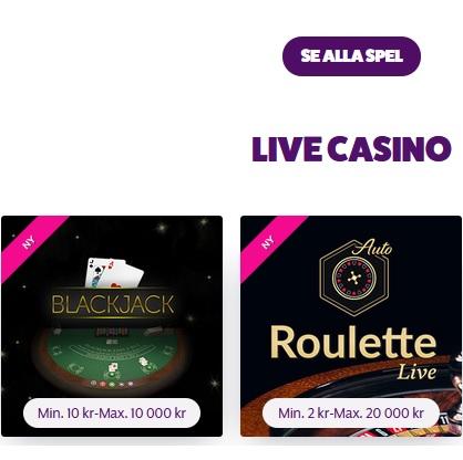 Frank & Fred Casino får fler spel till live casino!