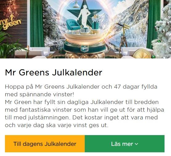 Jullotteri på Mr Green - deras julkalender 2019!