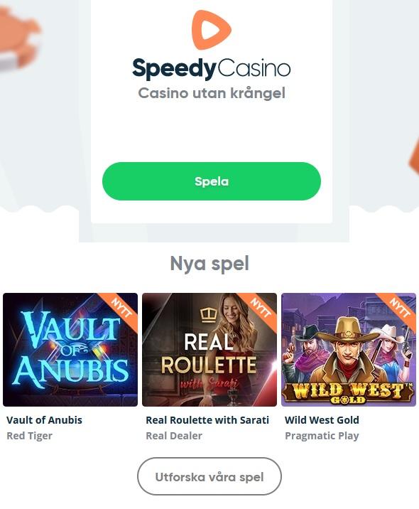 Börja njut av hela Speedy Casino nu!