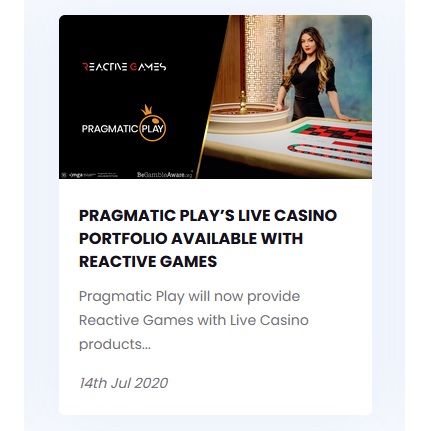 Pragmatic Play live casino utbud hos Reactive Games!